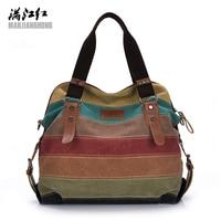 Patchwork Canvas Bag 2017 Newest Materials Women Tote Bag Casual Shoulder Bag Mother Shopping Bag Big