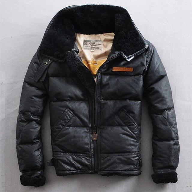 30a766c8ba8c3 Военный летчик куртки меховой воротник кожаная куртка мужская зимняя куртка-пуховик  черный овчины мужская кожаная