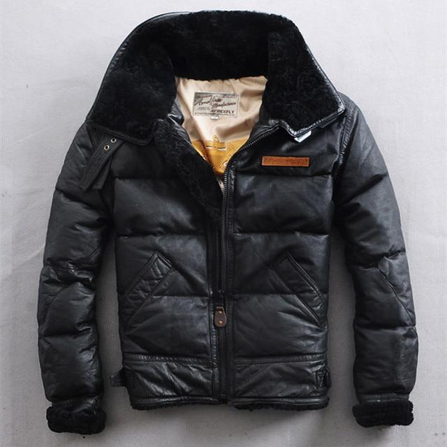 Avirex Fly Winter Down Jacket Fur Collar Leather Jacket Men Black