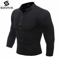 T Shirt Men 2017 Brand Male Long Sleeve Hip Hop Solid V Neck Button T