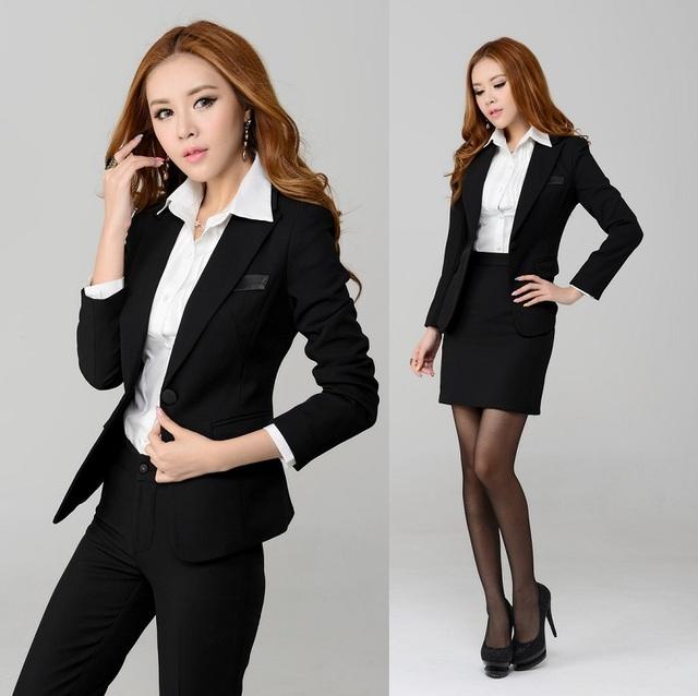 Nueva elegante negro 2015 otoño invierno moda delgado mujeres de carrera adapte uniforme Blazer establece profesional protuberancia ropa de trabajo más el tamaño