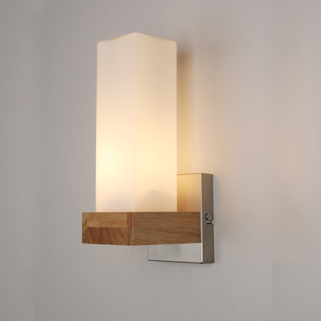 IWHD Nordic Oak Wooden LED Wall Lights Fixtures Home Lighting Beside Lamp  Bathroom Light Wall Sconce