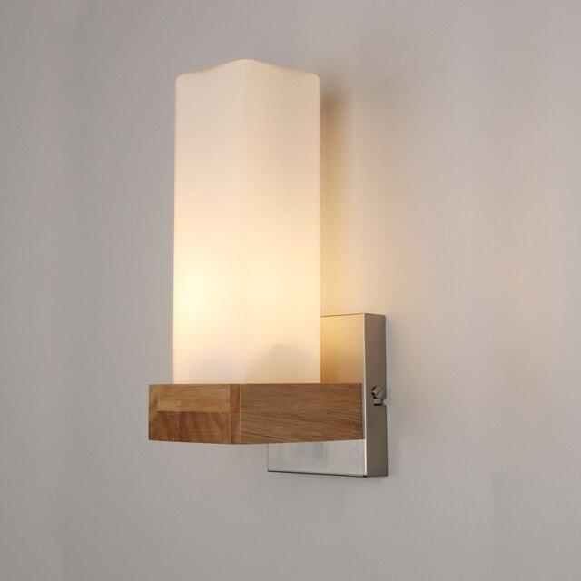 IWHD Nordique Chêne En Bois LED Appliques Murales Luminaires - Applique salle de bain bois