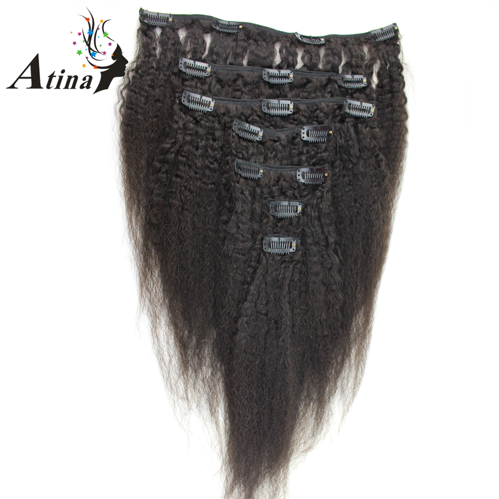 Atina Hair Clip In Human Hair Extensions Brazilian Remy Afro Kinky Straight Italian Coarse Yaki Clip On 7pcs/set 120g per Bundle