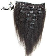 Atina Hair Clip In Human Hair Extensions Brazilian Remy Afro Kinky Straight Italian Coarse Yaki Clip