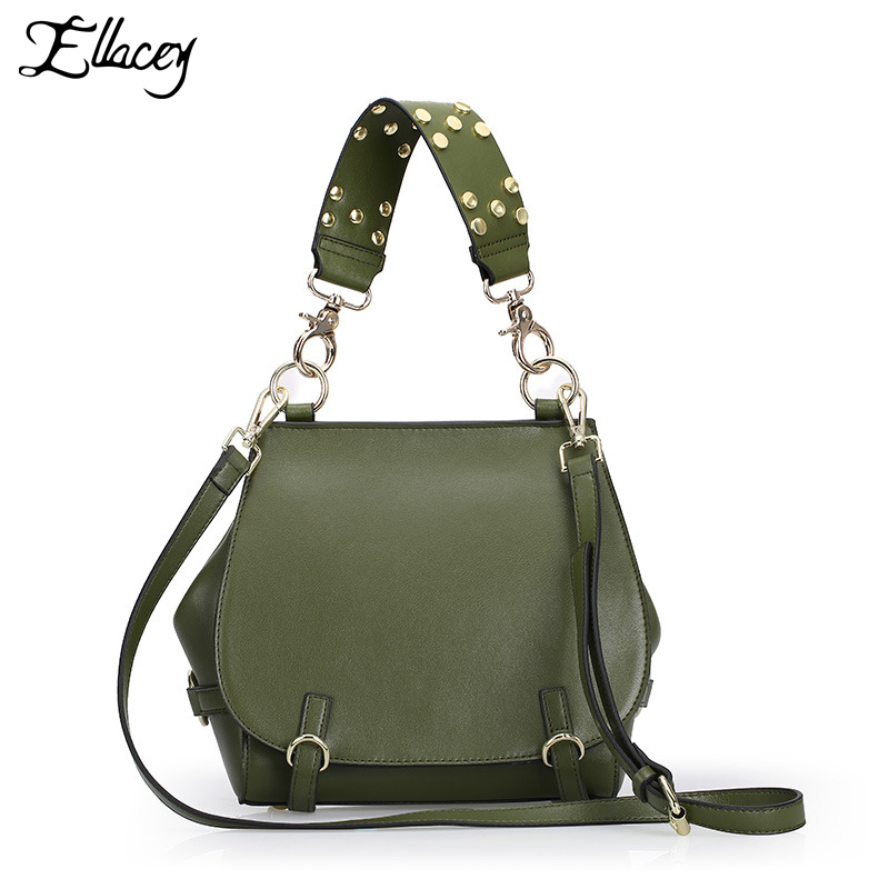 2017 Women Genuine Leather Flap Bag Fashion Rivet Handbag High Quality Sac de marque Crossbody Bag Ladies shoulder Messenger Bag