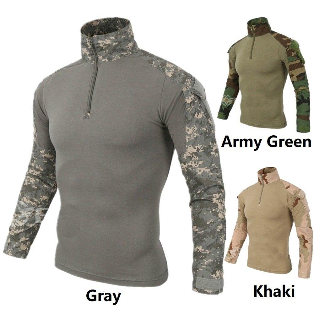 Zogaa hommes Camouflage tactique T-shirts armée vert Combat T-Shirt hommes à manches longues militaire T-Shirt respirant séchage rapide Outwear