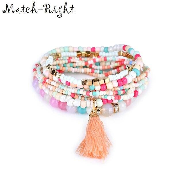 Match-Right Women Bohemia Jewelry of Multilayer Elastic Weave Set Bracelets & Bangles with Tassel Charm Wrap Bracelet LG-076