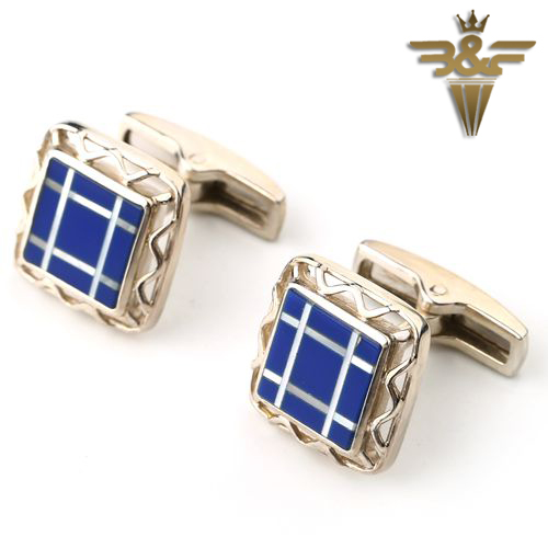 Lapis Lazuli M.O.P Classic lattice High quality jewelry mens cufflinks 14x3mm 40.5ct Gift Gem Customized DIY Cufflinks