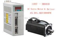 1 set New Servo system kit 6N.M 1.8KW 3000RPM 110ST AC Servo Motor 110ST-M06030 + Matched Servo Driver