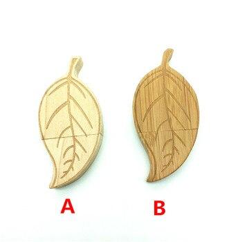 HOT New fashion Wooden leaf simulation golden tree leaves usb flash drive USB 2.0 Memory card pen drive pendrive 4GB 8GB 16GB