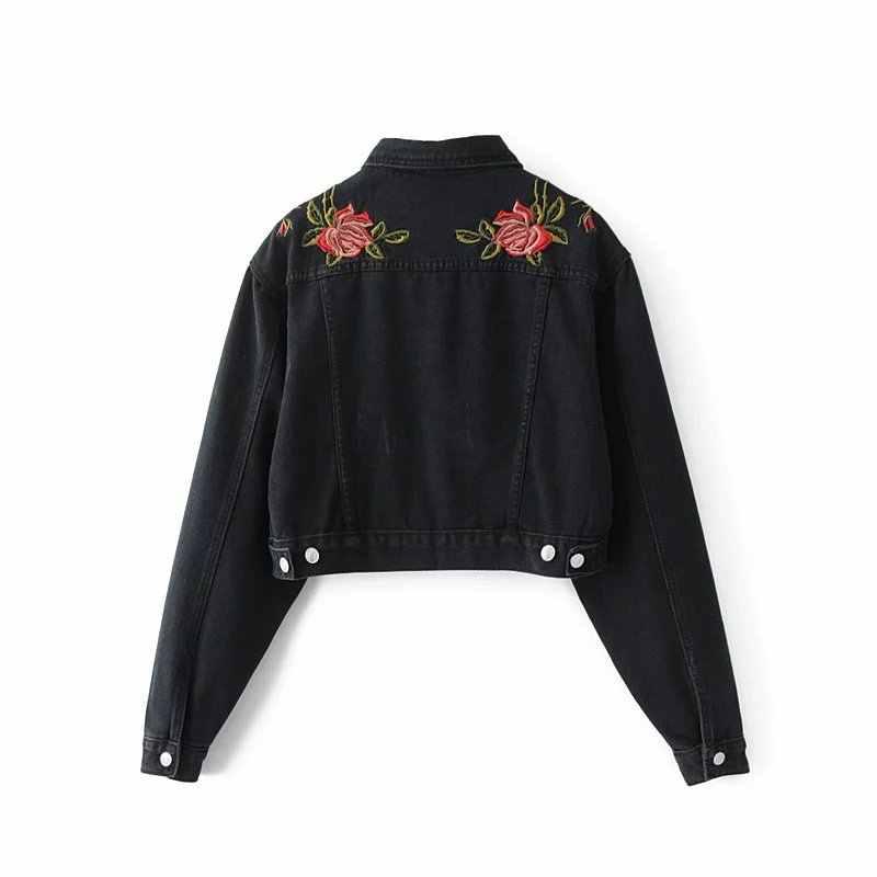 Ковбойские куртки 2017 осенние модные женские новые цветочные Вышитые лацканы с длинными рукавами свободные короткие джинсовые куртки пальто