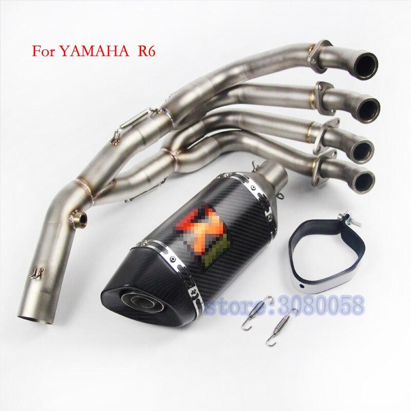 YZF-R6 Motocicleta Completa do Sistema com o Aço de Carbono Escape Para Yamaha YZF R6 2006-2014 Motocicleta Silenciador Tubo de Escape DB assassino