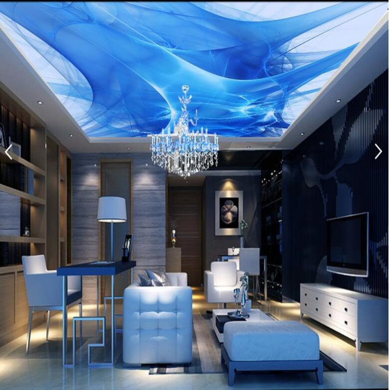 Large scale custom ceiling murals wallpaper living room for Ceiling mural in smokers lounge