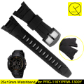 Watchband for Casio PRG-110Y PRW-1300Y Sport Watch Band Black Soft Silicone Rubber Pin Buckle Strap for Men Bracelet+ Free Tools
