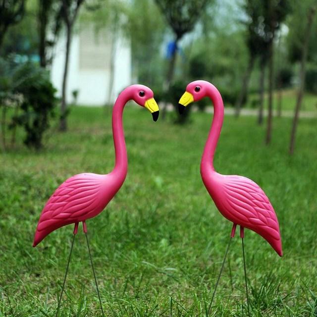 New 2Pcs/set Bright Pink Plastic and Metal Flamingos Yard Garden ...