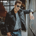S-6XL Men's pigskin black real leather jacket Faux fur shearling  coat men Genuine Leather jackets motorcycle
