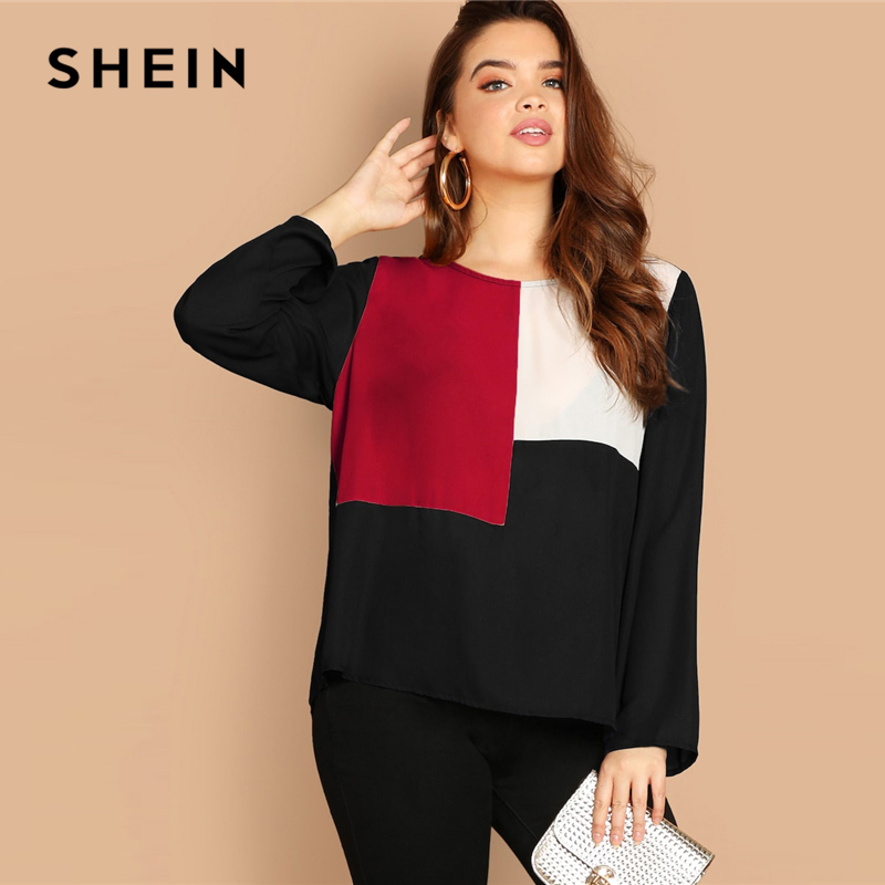 SHEIN Multicolor Keyhole Back Color-block Button Long Sleeve Top Plus Size Blouses Women 2019 Spring Round Neck Blouse