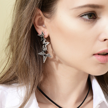 Viennois Hot Vintage Silver Color Abstract Star Earrings for Woman