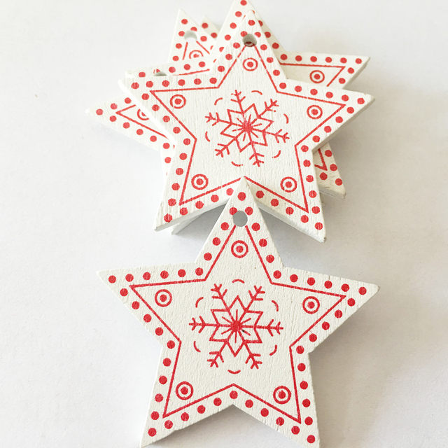 New 10pcs/Lot  Xmas Tree Decoration For Home Natural Wood Red 5CM Christmas Ornaments Snowflakes Pendant Hanging Gifts Wedding 24