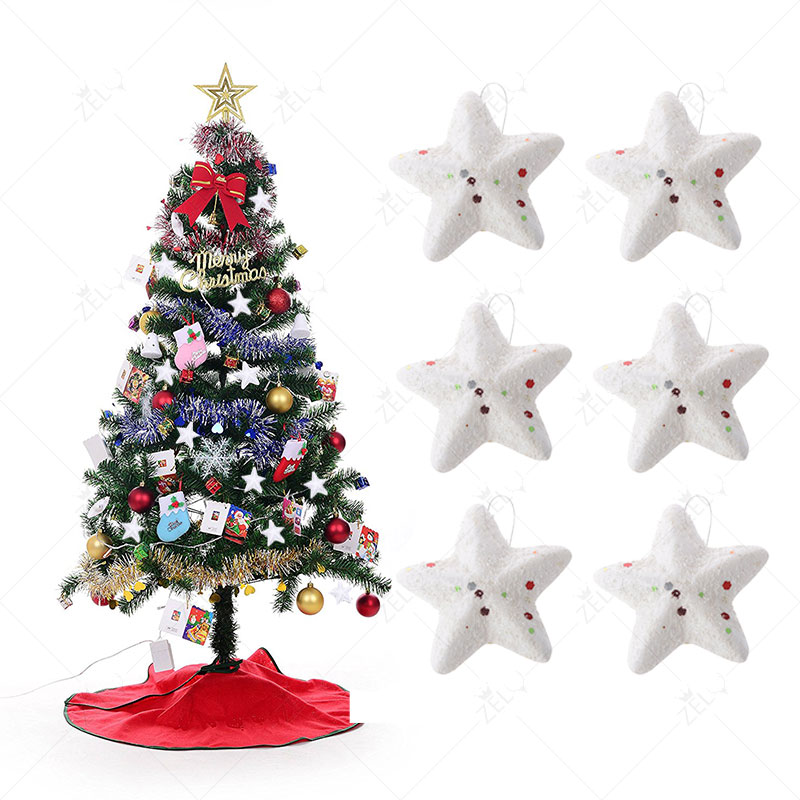 zljq 6pcs 6cm hang up christmas tree pendant decorations xmas party foam white star pentagram hanging ornaments