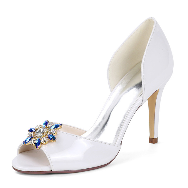 19480a4da83 Creativesugarsatin D orsay white PU shoes open toe colorful crystal brooch  lady elegant pumps prom party bridal wedding heels