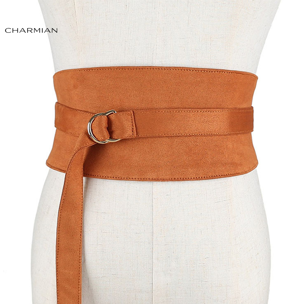 Charmian Fashion Camel Faux Suede Leather Wide Waist Cincher with Adjustable Belt and Alloy Buckle Waist Belt