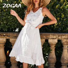 ZOGAA Women Summer Boho Hollow Out Dress 2019 New Sleeveless Lace Up Tassel Bows Bandage Party White Beach Vestidos De Festa