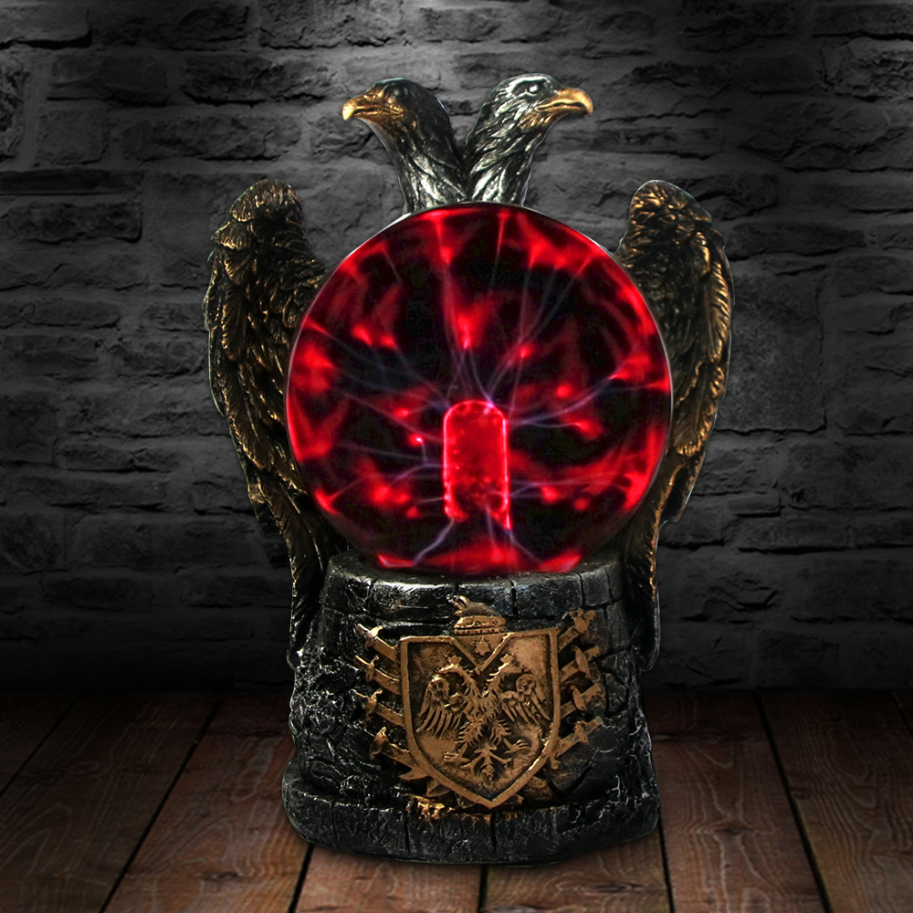 Imperial Two Headed Eagle Novelty Desk Lamp Plasma Ball Dicephalous Bald Eagle Night Light Mood Lamp Figurine Sculpture