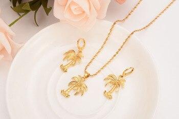 1838e51d0b79 Sólido oro GF Coco árbol collar cadena pendientes colgante de moda collar  nuevo conjuntos de joyas de las mujeres chica encantos joyería dropship