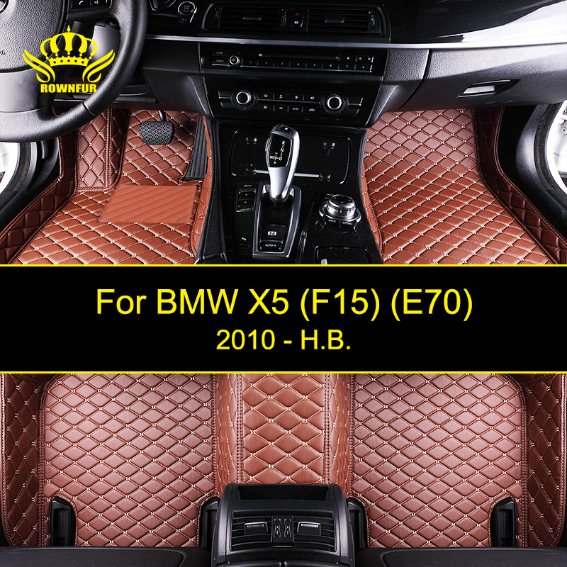 ROWNFUR New Car Floor Mats For BMW X5 F15 E70 Protect The Car Clean Waterproof Leather Floor Mats Auto Interior Car Carpet Mat auto floor mats for honda cr v crv 2007 2011 foot carpets step mat high quality brand new embroidery leather mats