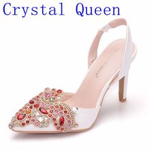 Chaussures de mariage en cristal reine, plateforme de mariage, talon haut, strass rouge, bout ouvert, demoiselle dhonneur, dames, pompes de bal