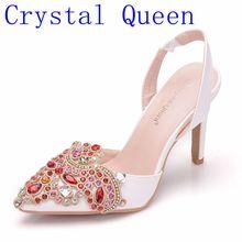 Kryształowa królowa kobiet buty ślubne platforma szpilki czerwony stras kryształ Peep Toe panna młoda druhna panie czółenka promowe