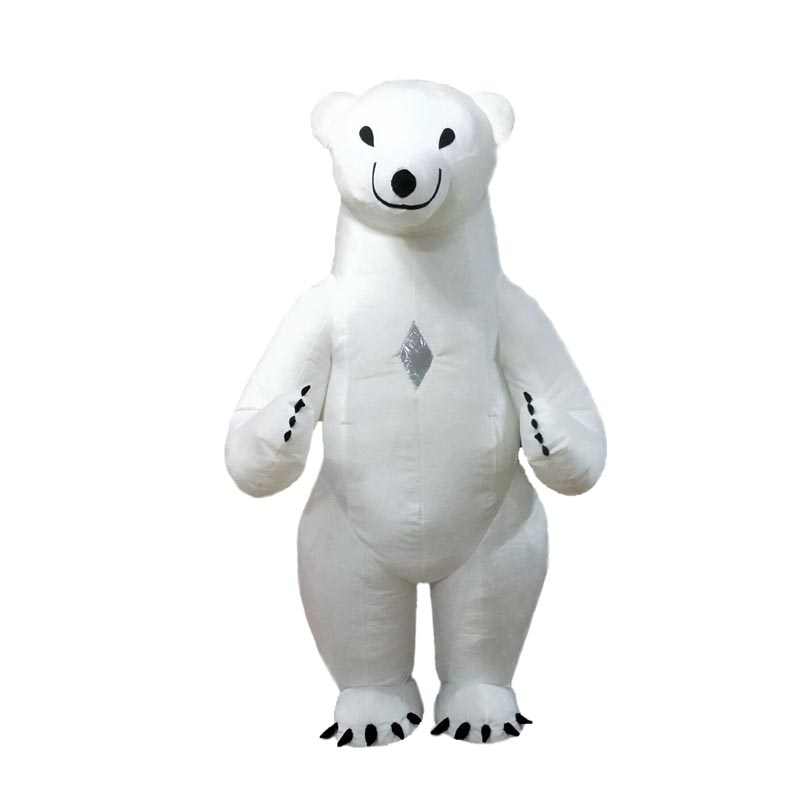Polar Bear Mascot Costume For Adult Inflatable Polar Bear Costume Advertising For Fantasias Homem Customize 2.6M Tall Short Hair