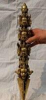 Antique bronze Pure Copper Brass 20 Tibet templo bronze Mahakala Buddha exorcismo Phurpa