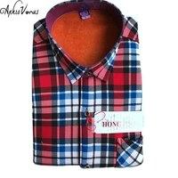 2017 Winter Thermal Blouse Warm Shirt Men Long Sleeve Shirts Plaid Cotton Casual Flannel Shirts 19