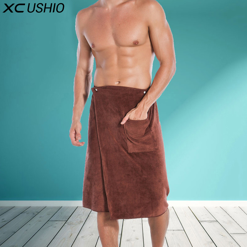 XC USHIO Fashion Man Wearable Magic Mircofiber BF Toalla de Baño Con Bolsillo Suave Playa de Natación Toalla De Baño Toalla De Bano