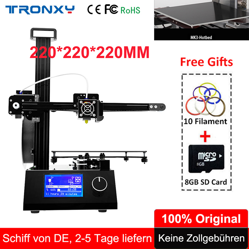 2018 Tronxy 3D Printer X2 Easy Assembled 3D Printer Kit whole Metal Aluminum Frame +Extruder Hotbed SD Card Build Tools Filament tronxy 3d printer all metal upgrade frame 3 3 lcd screen dual z axis extruder 3d printer diy kit 10m filament 8g sd card gift