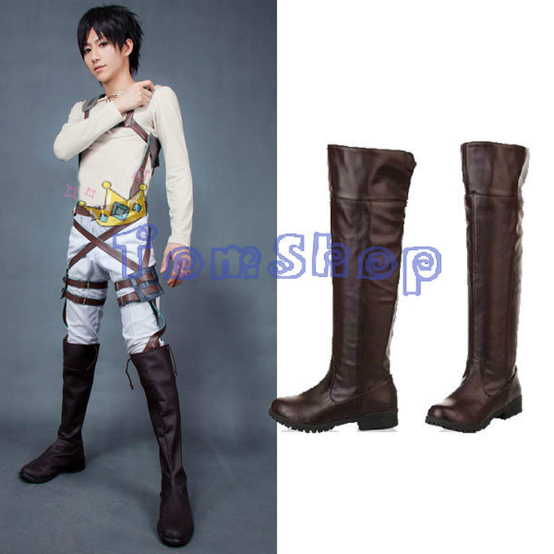 Anime Attack on Titan Cosplay High Boots Shingeki no Kyojin Eren Jaeger Mikasa Ackerman Shoes 35-44 Free Shipping
