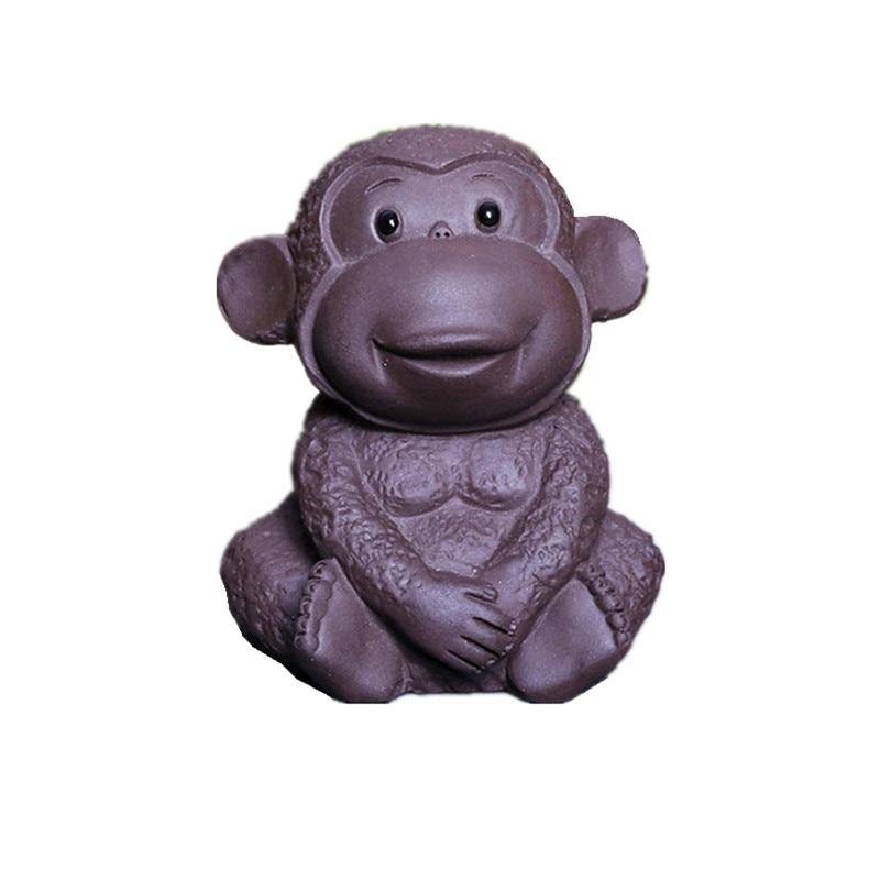 2016 New Cute Purple Clay Monkey Tea Pet Chinese Kung Fu Zisha Play Toy