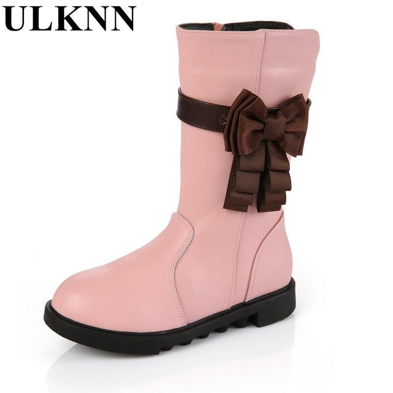 ULKNN Girls Winter High boots Children's Cow Split Boots for Children Baby bowknot Shoes Winter Plush Boots for Boy Girls Pink
