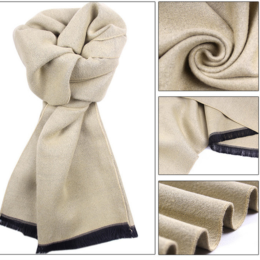 Shawl Thick Brushed-Scarf Cashmere Scarves-Wrap Wool Warm Winter Cotton Knit Autumn Men