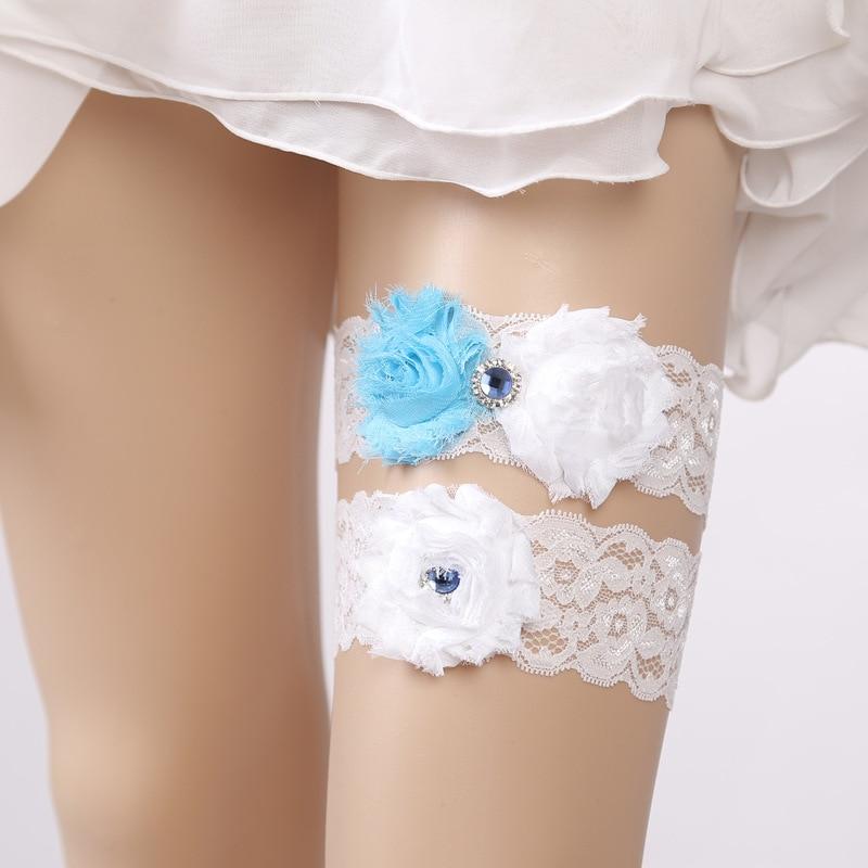 Bridal Accessories Lace Wedding Garter Blue Applique