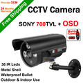 Free ShippingSecurity CCTV SONY CCD 700TVL Effio-E Waterproof 3 Array Leds Bullet Camera OSD Menu 6mm Lens With Bracket