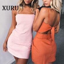XURU New Summer Womens Chiffon Dress Sexy Halter Sling Beach Bow Casual