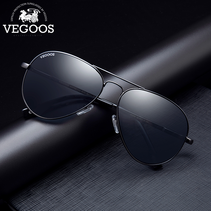 VEGOOS Designer Brand Aviation Polarized Solglasögon för män Klassiska Sun Glasses Kör Pilot Outdoor Sport Glasses # 3025S