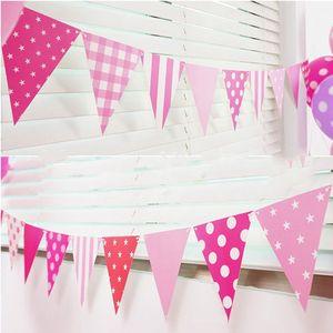 Image 3 - 3 m 12 Vlag Blauw/Roze Papier Board Garland Banner Voor Baby Shower Verjaardagsfeestje Decoratie Kinderkamer Decoratie guirlande Gors