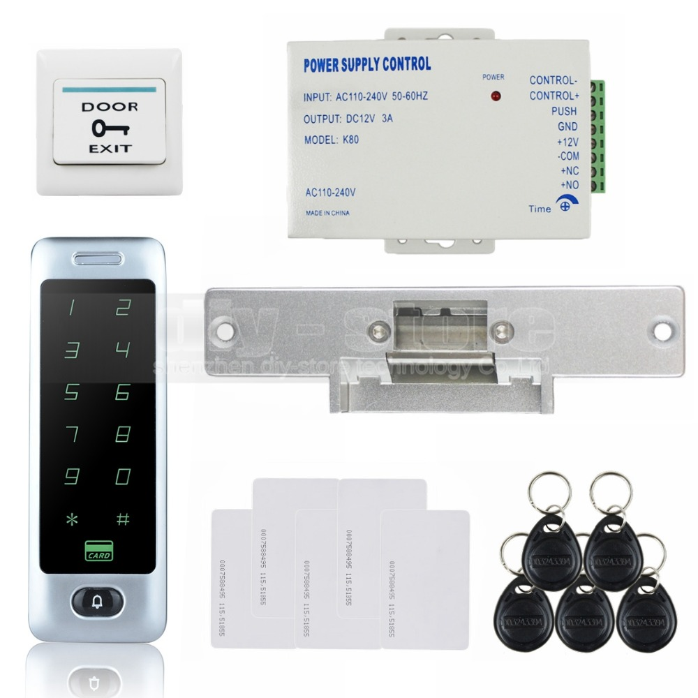 DIYSECUR 8000 User RFID Reader Touch Panel Password Keypad Door Access Control Security System Kit + Strike Lock diysecur magnetic lock door lock 125khz rfid password keypad access control system security kit for home office