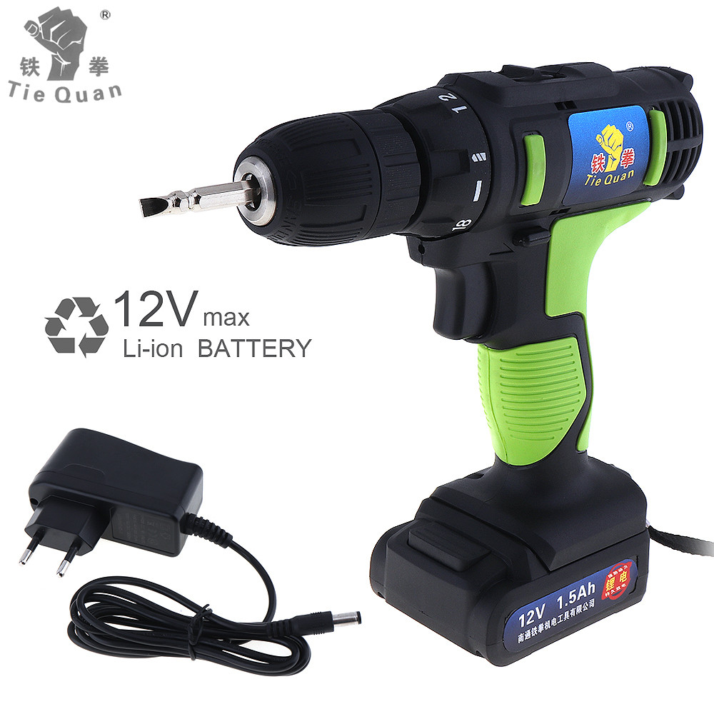 Cordless 12V Electric Drill Screwdriver Power Tools with 18 Gear Torque and Two-speed Adjustment for Handling Screws Punching