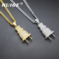 Mens Iced Out Bling Bling Plug Pendant Necklace 18K Gold Silver Plated Charm Micro Pave